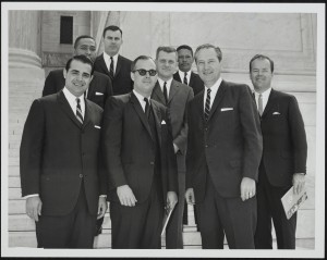 Lee with Horace Kornegay and others on the steps of the Supreme Court, May 1967.